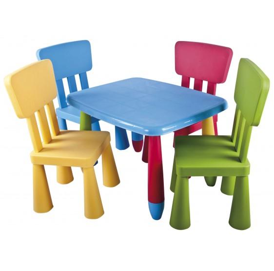 Sillas y mesas infantiles recatangulares conjunto 1 for Sillas de plastico baratas